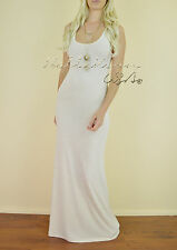 CHIC Womens OATMEAL Beige Tank Top Jersey Knit Long Maxi Stretch Summer Dress S