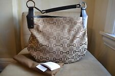 GUCCI CLASSIC BROWN BEIGE EBONY HORSEBIT & LEATHER TRIM LARGE SHOULDER HOBO BAG