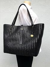 NWT BRAHMIN All Day Shopper Tote Black Woven Leather XL Tote Bag + Dust Bag $365