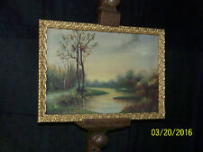 Antique c19th Century Washington State Landscape Original Oil On Canvas