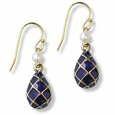 Gold Plated Cobalt Blue Enameled Russian Faberge Inspired Egg Earrings