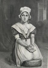 1873 Large Antique Print- Young Chambermaid Reciting The Lord's Prayer -Holyoake