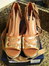 MILLY SPERRY TOP SIDER Womens Palm Beach Gold Glitter Wedge Shoes Sz 9.5M