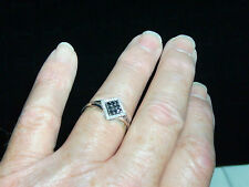 "Square 14k White Gold and Black Oynx and  Diamond Ring-Sz 10.25 ""LOOK"" BEAUTY"