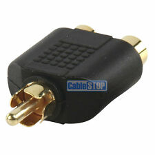 1 to 2 RCA PHONO AUDIO VIDEO SPLITTER ADAPTER GOLD UK