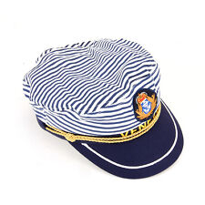 Adult Captain Hat Navy Cap White + Blue Captains Ship Sailor Mens Womens