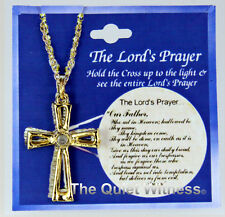 6030299 Cross Necklace Our Father The Lord's Prayer Miniature Window Made in USA