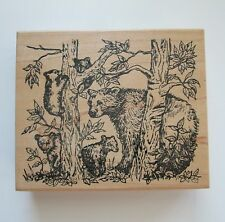 NORTHWOODS Mama Bear and Cubs Wood Mounted Rubber Stamp Forest Trees Animals