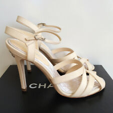 $950 NIB Gorgeous CHANEL Ivory Crystal CC Logo Leather Strappy Heels Shoes 38.5