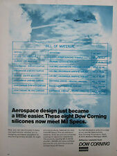 7/1972 PUB DOW CORNING SILICONE PRODUCTS MIL SPECS AEROSPACE EQUIPMENT AD