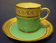 OLD China Aqua Blue/Turquoise Coffee Demitasse Cup & Saucer several avail