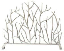 "FIREPLACE SCREENS - ""SHERWOOD FOREST"" DECORATIVE FIRE SCREEN - ANTIQUE WHITE"