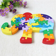 Kids Baby Wooden Elephant Puzzle Numbers Alphabet Jigsaw Learing Educational Toy