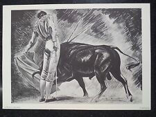 Tom Lea Texas Artist Bull Fighting Manolete in a Pase Natural Lithograph 1968