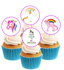 Novelty Cute Unicorn Collection 12 Edible Stand Up wafer paper cake toppers