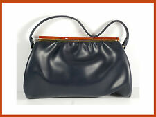 Vintage 1960's Women's Black Purse Leather And Plastic Clasp.