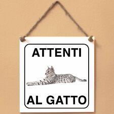 Mau egiziano 6 Attenti al gatto Targa gatto cartello ceramic tiles