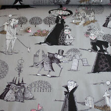 Alexander Henry Fabric The Ghastlies Charcoal PER METRE Halloween Witches Witch