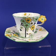 Melba Fine Bone China England Tea Cup Saucer With Flower Handle Reg. 778351