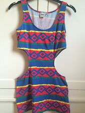 Asos Aztec Cut Out Bodycon Multi Coloured Blue Red Green Yellow Summer Dress