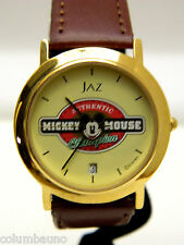 NEW MICKEY CHAMPION   WATCH  / DATE /NEW BATTERY/ GOLD TONE CASE/LEATHER BAND