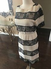 Alice + Olivia Ivory Black Lace Sheer Romantic Cocktail Dress USA XS