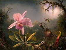 Oil Painting repro Martin Heade Cattleya Orchid & Three Brazilian Hummingbirds
