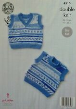 KNITTING PATTERN Baby Easy Knit Sleeveless Pullovers DK King Cole 4515