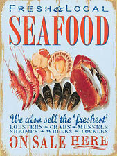 Seafood, Fresh Local Food, Cafe Restaurant Fish Seaside, Medium Metal/Tin Sign