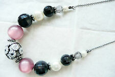 ACCESSORIZE NECKLACE_DEEP PINK CATSEYE STONES, BLACK & GREY BEADS, CREAMY PEARLS