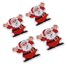 50pcs New Christmas Cheer Santa Claus Wood Buttons Sewing Charms Scrapbooking LC