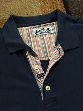 Mens Robert Graham R&G Polo Shirt Navy Blue Short Sleeve XXL Floral Placket