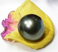 RARE HUGE SALTWATER BLACK TAHITIAN SOUTH SEA PEARL OFF ROUND 16mm HIGH LUSTER