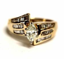 14k yellow gold G-H 1.19ct marquise diamond engagement ring CLARITY ENHANCED 6g