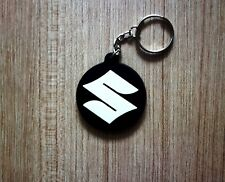 SUZUKI Keychain Key ring Black White Rubber Motorcycle Car Collectible Gift New