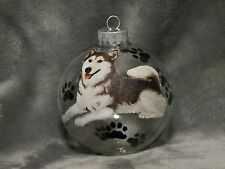 "HAND MADE SIBERIAN HUSKY 4"" GLASS CHRISTMAS ORNAMENT / BALL"