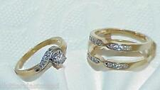 14K .50ct 20 Diamond 2 Ring Set W/ Enhancer Size 6.75 Yellow Gold Gorgeous Set