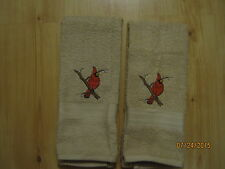 New 2 RED CARDINAL BIRDS Embroidered Hand Towels,Northwoods, cabin decor