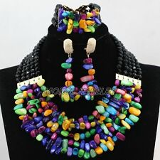Multicolor African Costume Necklace Nigerian Wedding Party Beads Jewelry Sets