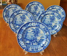 6 Antique Historical Blue White Staffordshire Plates Europa Pattern Riley c1820