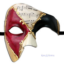 Phantom of the Opera VENETIAN Masquerade Mask: RUBY HARLEQUIN * Made in Italy