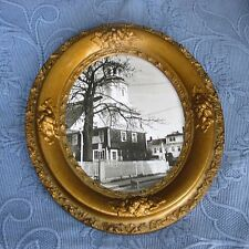 Antique Victorian Gold Oval Picture Frame & Photo of a Cat Outside of a Church