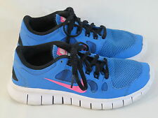 NIKE Free 5.0 GS Running Shoes Girls Size 3.5 US Blue Pink Excellent Plus