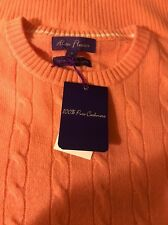NWT Alan Flusser $278 Salmon Crewneck 100% Cashmere Cable Knit Sweater Small