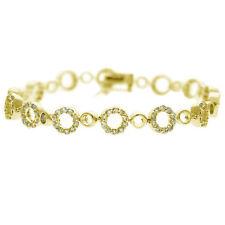 18k Gold over Silver CZ Circle Link Bracelet
