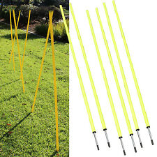 6 Pieces ~ Dog Agility Equipment Stick in the Ground Weave Pole w/Spike 5ft tall