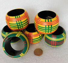 Wooden napkin rings from India Set of 6 painted and lacquered serviette holders
