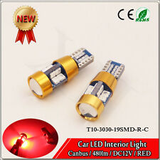 2 x NO ERROR FREE CANBUS W5W T10 501 LED SIDE LIGHT BULB 3030 19 SMD Red DC 12V