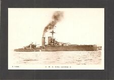 REAL-PHOTO POSTCARD:  H.M.S. KING GEORGE V - BRITISH ROYAL WW-1 NAVY BATTLESHIP