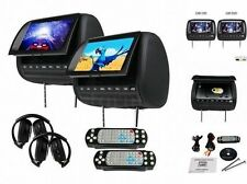 "2x9"" HD Car Pillow Headrest Monitor DVD CD Player Black USA Wireless Headphone"